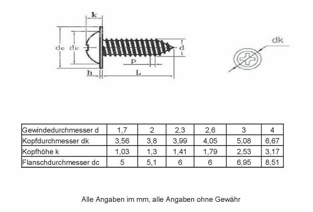ab 1,7mm Ø Stahl schwarz 100 kleine Holz-//Blechschrauben Linsenkopf mit Bund
