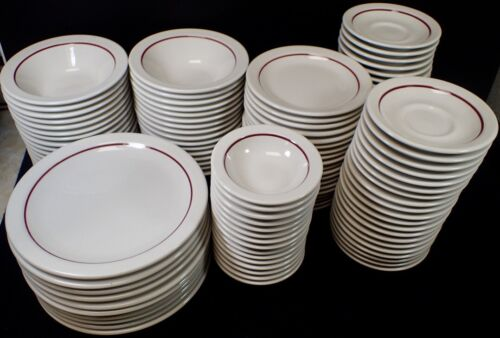 Homer Laughlin Best China Restaurant Ware Red Stripe Band (6) Cereal/Soup Bowls