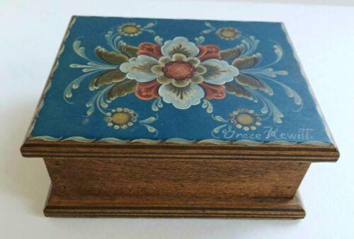 "NORWEGIAN ROSEMALED TRINKET BOX Signed Blue Wood Vintage 5""x4""x2"" w/Cover EUC"