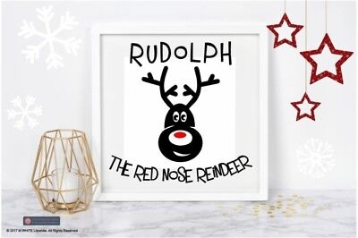 Christmas Sticker - Rudolph the Red Nose Reindeer Sticker for Box Frame Decor (Reindeer Decorations For Christmas)