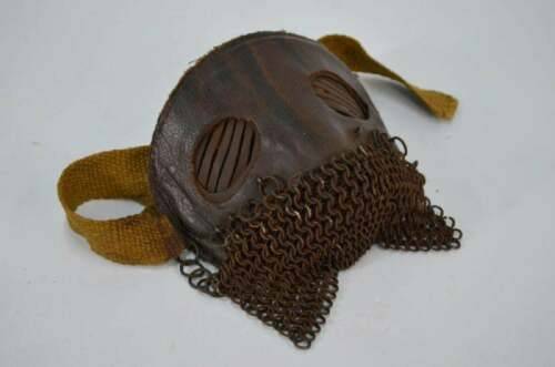 Ultra Rare WW1 Tank Crew Splatter Mask- Leather Chain Mail Trench War Vintage