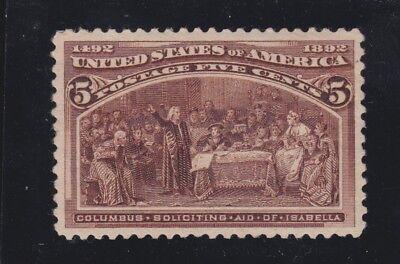 US 234 5c Columbian Exposition Mint VF-XF OG H SCV $50