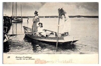 Early 1900s Three Girls going Crabbing Postcard