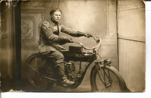 1910 INDIAN MOTORCYCLE REAL PHOTO POST CARD - UNUSED - RARE