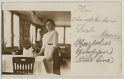Schweiz SAALTOCHTER RESTAURANT SCHNEEBELI SAAL HOTEL Zürich * Foto-AK um 1910