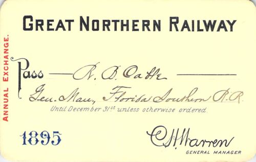 1895 GREAT NORTHERN  MONTANA FLORIDA SOUTHERN AGT RAILROAD RWY RR RAILWAY PASS