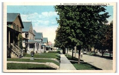 1929 Broad Street Looking West  Salamanca  Ny  Residential Neighborhood Postcard