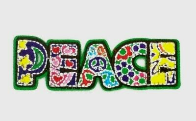 Peace Sign Flowers Patch Daisy Hippie Word Embroidered Iron On Applique - Hippie Flowers
