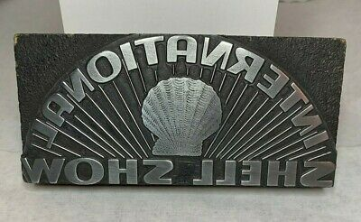 Vintage Letterpress Wood Print Block International Shell Show Logo