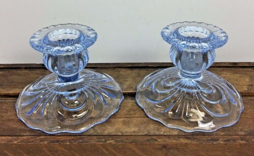 Vintage Pair Cambridge Caprice Midnight Blue Candle Holders