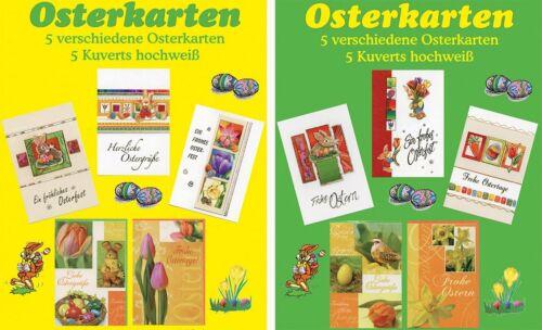 Grußkarten Ostern Glückwunschkarten Hüllen 10 Sets à 5 Karten 13-2650 A