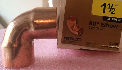 Nibco 1 12 Inch 90 Degree Copper Elbow - New - 1-12 Plumbing Fitting