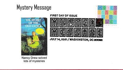 Mystery Message First Day Cover, Nancy Drew Book, Girl Detective, Clock