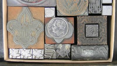 Vintage Metal Letterpress Print Type Variety 24-120 Cuts Seals Emblems Mb88 2
