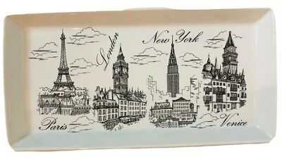 222 Fifth City Scenes Black And White Oblong Serving Tray Platter Dish NEW