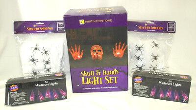 1-Lot of Assorted HALLOWEEN DECORATIONS (Skull & Hands,Lights,Spider Webs) S8635 - $1 Halloween Decorations