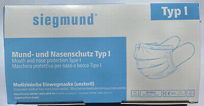 50 Stück (1 Box) Atemschutzmaske, MUNDSCHUTZ TYP1, JIFA Siegmund