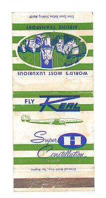 REAL AIRLINES SUPER CONSTELLATION MATCHBOX LABEL ANNI  '50 AIRWAYS LATIN AMERICA