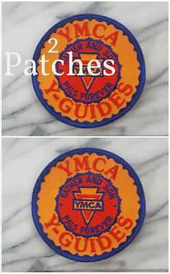 (2) lot of VINTAGE YMCA INDIAN GUIDES Iron on Patch FATHER & SON Pals Forever