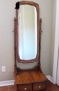Oak Tilting Mirror with storage