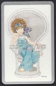 #920.328 Vintage Swap Card -NEAR MINT- Sarah Kay, Girl in chair, silver border