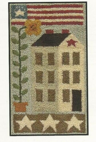 AMERICAN SALTBOX--Flag--USA--Stars--House--Flower--Punch Needle Pattern