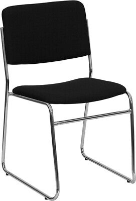 Heavy Duty Sled Base Black Fabric Stack Office Chair - Waiting Room Chair