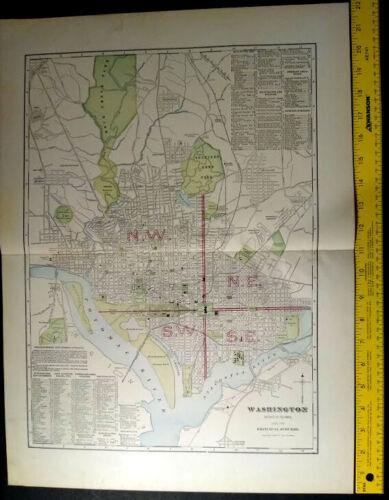 1904 WASHINGTON DC Monarch Standard Atlas Map 16 inch x 22  Color M69