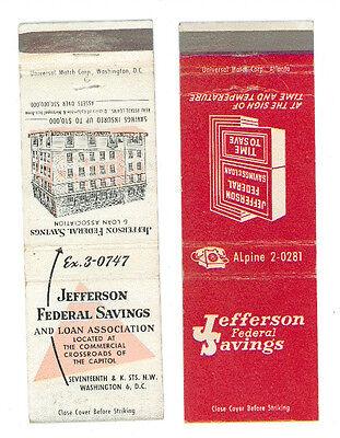 JEFFERSON FEDERAL SAVINGS AND LOAN ASSOCIATION 2 MATCHBOX LABEL ANNI '50