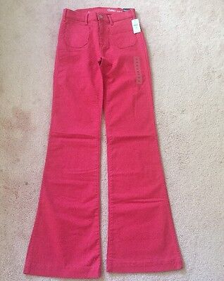 Red Pocket Jean - Gap NWT Bouy Red Patch Pocket Authentic Flare Pants Jeans 00 $70