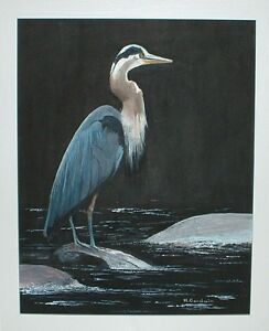 "Original Art - ""Blue Heron"" - Framed 16 X 20 Acrylic"