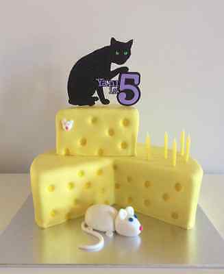 Glitter Cat, Kitten Cake Topper with Birthday kids name and age
