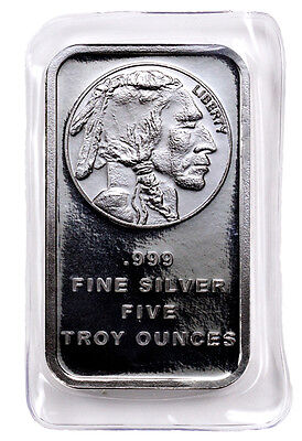 5 Troy Oz .999 Silver Bar American Indian Buffalo Design SKU28954