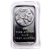 5 Troy Oz .999 Fine Silver Bar American Indian - Buffalo Design  SKU28954