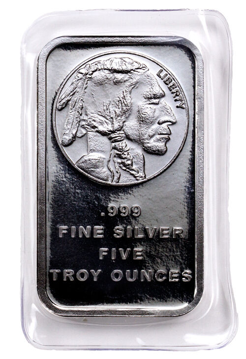 Daily Deal! 5 Troy oz .999 Silver Bar American Indian Buffalo Design SKU28954