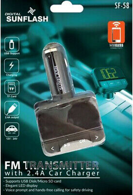 Digital Sunflash FM Transmitter with 2.4 Car Charger SF-58 Digital Fm Transmitter Charger