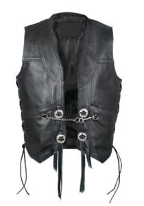 New Mens Real Leather Motorcycle Biker Waistcoat/Vest with Chain
