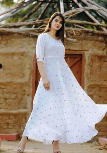 Women Pakistani Wedding White Gown Indian Ethnic Long Kurti Party Wear Top Tunic