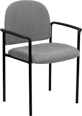 Gray Fabric Stack Office Guest Chair With Arms