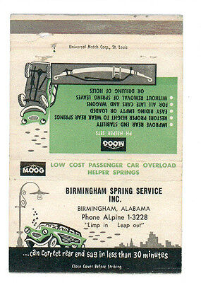 MOOG CAR OVERLOAD HELPER SPRINGS BIRMINGHAM ALABAMA MATCHBOX LABEL ANNI '50