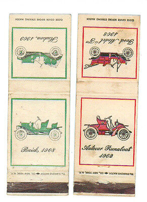 OLD CARS FORD BUICK HUDSON AUTOCAR RUNABOUT 2 MATCHBOX LABEL ANNI '50