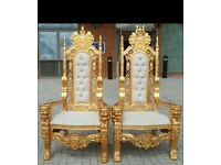 Gold and sliver Throne chairs for hire £150