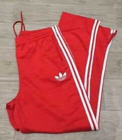 Red Adidas Originals Tracksuit Bottoms XL