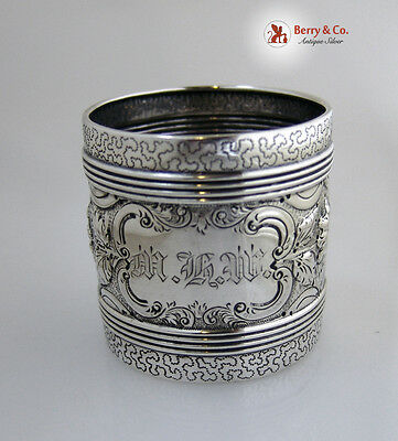 Repousse Floral Napkin Ring Coin Silver 1880