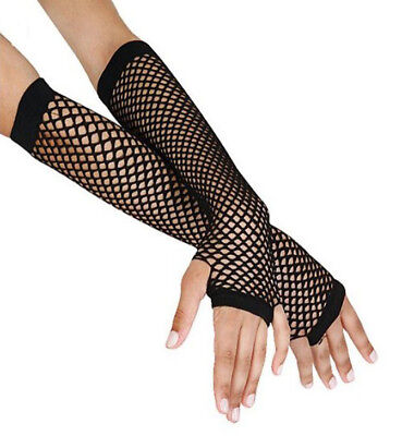 Black Fishnet Glove - Fishnet Fingerless Gloves Elbow Length Net Gloves Neon Black Blue Pink US Seller