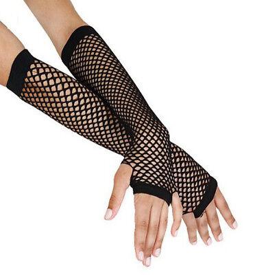 Fishnet Fingerless Gloves Elbow Length Net Gloves Neon Black Blue Pink US Seller (Pink Fishnet Glove)