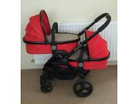 Icandy peach 3 blossom twin fixtures only...no pram chassis (Sherbet red)