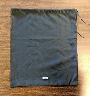 "Authentic PRADA Logo Dust Bag NEW & SHIPS FREE! Black w/ Drawstring 13"" x 15.5"""