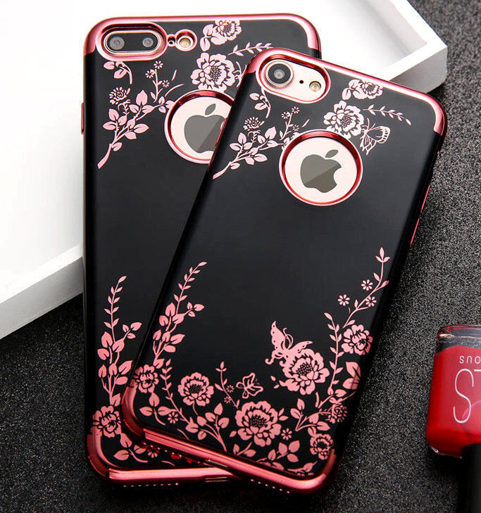 Купить Unbranded/Generic iPhone 7/8/7+/8+/X - for iPhone 7/8 & 7+/8+ PLUS - Soft TPU Rubber Gummy Case Cover Flower Butterfly