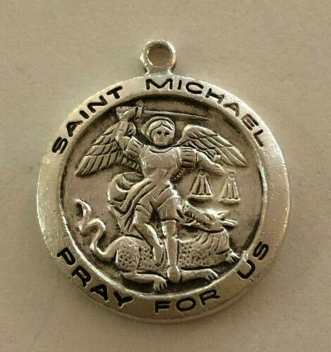 Vintage Catholic Religious Medal // STERLING // Saint Michael Patron of Soldiers